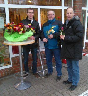 """die """"Rosenboten"""" vor der Bäckerei Hintelmann in Dornbusch"""