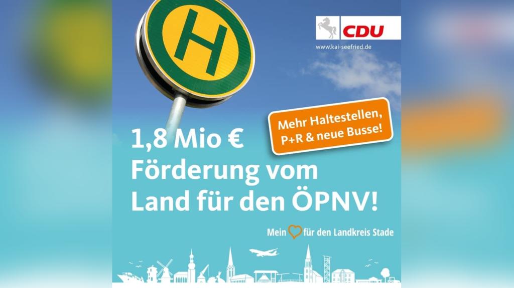 Kai Seefried und Helmut Dammann-Tamke: Landesregierung unterstützt den ÖPNV im Landkreis Stade mit 1,8 Millionen Euro.