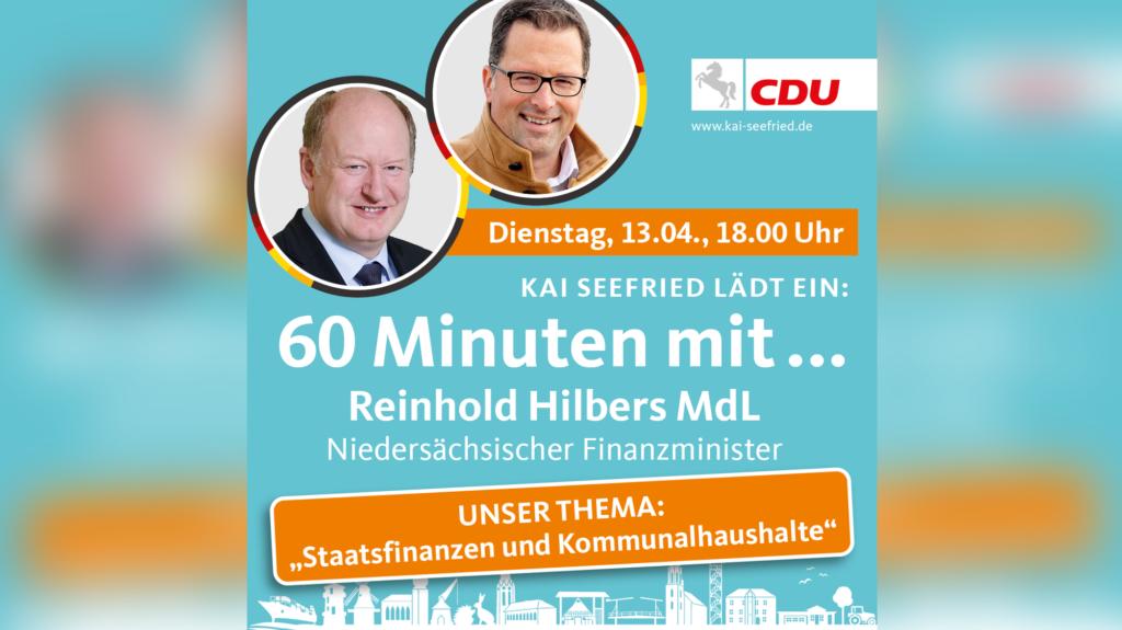 """Seefried lädt zu """"60 Minuten mit dem Niedersächsischen Finanzminister"""""""