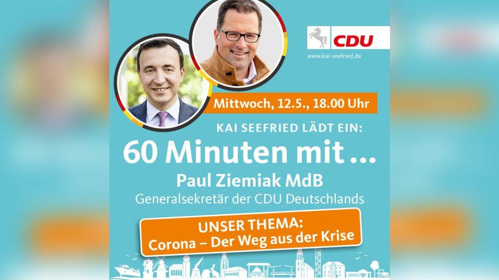"""Seefried lädt zu """"60 Minuten mit dem Generalsekretär der CDU Deutschlands Paul Ziemiak"""""""